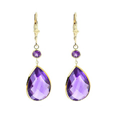 14K Yellow Gold Gemstone Earrings with Pear and Round Shape Amethysts