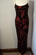 Vestido de noche East Rojo y Negro con Cuentas Mezcla de Seda 10-12
