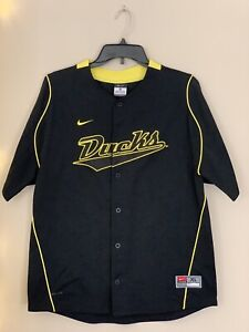 Nike Team Oregon Ducks Baseball Jersey Dri Fit Button Front Boy Size Large 16/18