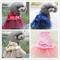 Dog Cat Cute Bow Tutu Dress Lace Skirt Pet Puppy Princess Costume Dress Clothes