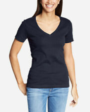 BLUE TOP Size XL 16 V-Neck Casual Stretch T-Shirt Dark Navy NWT