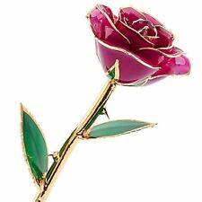 Long Stem Dipped 24k Gold Trim Purple Rose In Gift Box, Customized Note Included