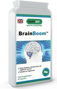 BrainBoom™ Brain Supplement Nootropics for Memory Focus Studying Exams 90 Caps