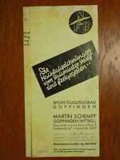 LUFTFAHRT - Schempp und Hirth Segelflugzeubau Göppingen - Orig. Prospekt  (1937)