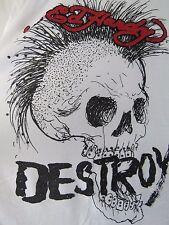 ED HARDY White Embellished Punk Not Dead Destroy T-Shirt Men's Size 2X XXL