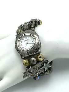 Vintage Chicos Beaded Watch Stretch Bracelet Japan Movement Moon and Stars Charm