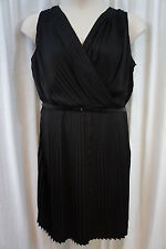 DKNYC Woman Dress Sz 14W Black Pleated Belted Charmeuse Evening Cocktail dress
