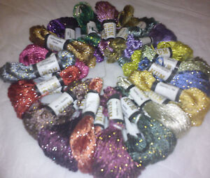 20 Skeins Large Silk Stranded Glitter Twisted Embroidery Threads Skeins