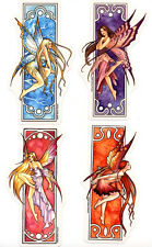4  SEASONS Sexy & RARE FAIRIES Art Nouveau STICKER/DECAL SET By Selena Fenech