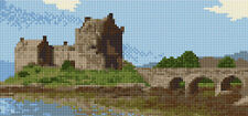 "Eilean Donan Castle - Scottish Mini Cross Stitch Kit - 9.5"" x 4.5"" - 14 Count"