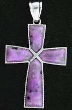 2 3/10 INCH SILVERPLATED GEM STONE GEMSTONE DYED PURPLE QUARTZ CROSS  PENDANT