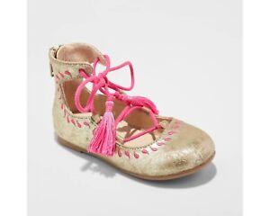 Toddler Girls' Genuine Kids from Oshkosh Trinity Ballet Flats - Gold NWT