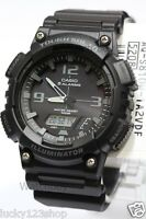 AQ-S810W-1A2 Black Casio Men's Watch Tough Solar 5 Alarms Analog Digital Resin