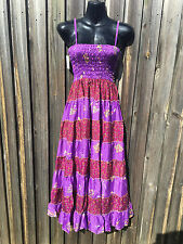 Indian Patchwork Hippy Boho Bohemian Maxi Dress Purple Multi Colour One Size