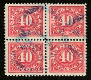 US Revenue 1917 R237 40c Documentary Tax Block of 4 Blue Nelson Douglass LA cds