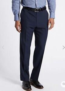 M&S Mens Active Waist Regular INDIGO Wool Trousers Stormwear £39.50 W-32-L-31
