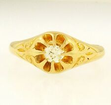 Vintage 18Carat Yellow Gold Old Cut Diamond Gypsy Solitaire Ring (Size P) 4mm