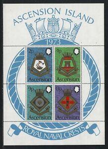 1973 Ascension Scott #169a - Royal Naval Crests Souvenir Sheet - MNH
