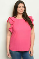 NEW Womens Plus Size Fuchsia Sleeveless Ruffled Top Shirt Blouse 1X 2X 3X