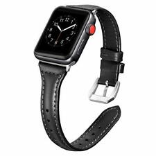 NIP Black Leather & Stainless Steel Watch Band Apple Compatible 38mm 40mm NWT