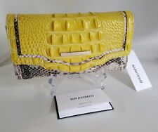 ❤️ BRAHMIN Sunflower Astaire Checkbook Wallet  Yellow + Snake  HTF Color  NWT ❤️