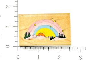 Vintage Rainbow Twilight Rubber Stamp Hero Arts 1993 Landscape Hills Trees Sun