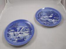 "(2) Currier & Ives Decorative Plates ~ Blue Winter Scenes ~ 8 1/4"" VINTAGE"