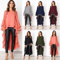 Women Ruffle Frill Shirt Tops Long Sleeve Double Layer Tunic Shirt Blouse Casual