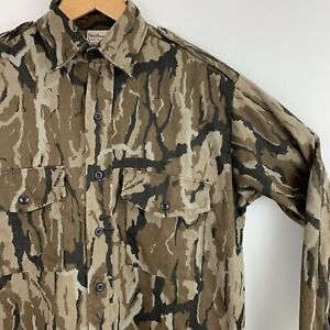 Vintage Forest Phantom Camo Shirt Mens Size Small Long Sleeve Hunting Brown Flaw