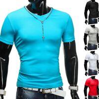 Mens T-shirt col V Sport Slimfit Clubwear shirt moulant corps-forme de base