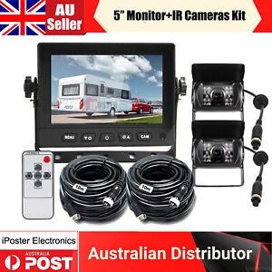 "5"" Monitor 12/24v 4 PIN IR CCD Rear View Reversing Camera 2x 10m Kit For Caravan"