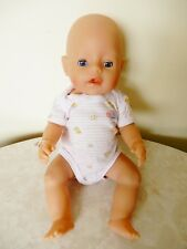 ZAPF CREATIONS  BABY BORN DOLL D96472 RODENTAL OPEN/SHUT EYES PINK ROMPER 42 CM