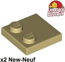 Lego - 2x Tile Modified plaque plate lisse 2x2 2 tenon beige/tan 33909 NEUF