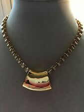 Satin Finish Gold Tone Book Chain with Large Slide