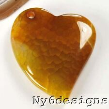 Ny6design 50x40x8mm Natural Yellow Agate Heart Pendant bead (CPD93)a