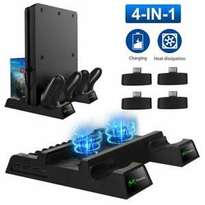 Vertikaler Stand + 2 Kühllüfter Controller Ladedockstation für PS4 Pro / Slim