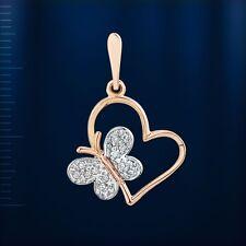Anhänger Schmetterling BICOLOR Gold mit CZ Russische Rose Rotgold 585 Herz Neu