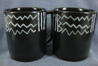 Mikasa Star Track CP006 Coffee Mugs Lot of 2 Black with White Geometrics