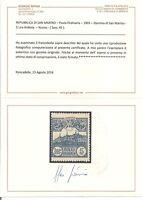 1903 SAN MARINO VEDUTA 5 LIRE   SASSONE N°45 G.I. MLH* CERTIFICATO BIFANI