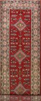 Vintage RED Tribal Ardebil Geometric Hand-knotted 14 ft. Long Runner Rug 4'x13'
