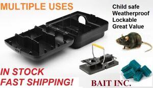 3 x Rat Rodents Mouse Mice Trap Enclosed Child Safe Snap Trap Box Bait Station