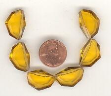 6 Vintage Topaz Faceted Art Deco Tin Cut Glass Bead Pendants 20x14mm P155