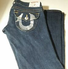 True Religion Jeans Size 29 Low Rise Flared Leggs Metal Logo Button  Dark Blue