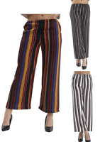 LADIES/WOMENS STRIPE WIDE LEG TROUSER (VARIOUS COLOURS)
