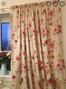 Next vintage Rose lined Curtains 89 X 72 Floral
