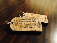 Personalised Event Ticket Oak Wood Key ring. Wedding, Valentines, Couples, Lover