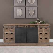 "71"" w Lillian Media Console old bard door recycled wood aged steel hand crafted"