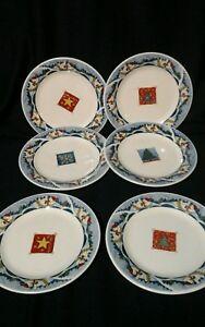 "Oneida Holiday Dining  ""Snow Valley"" Salad Plates Snowman Set of 6"