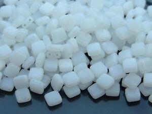 25pcs CzechMates Tile Beads 6mm Square Two Hole Alabaster 02010