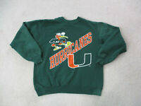 VINTAGE Miami Hurricanes Sweater Adult Large Green Orange UM Football 90s A99*